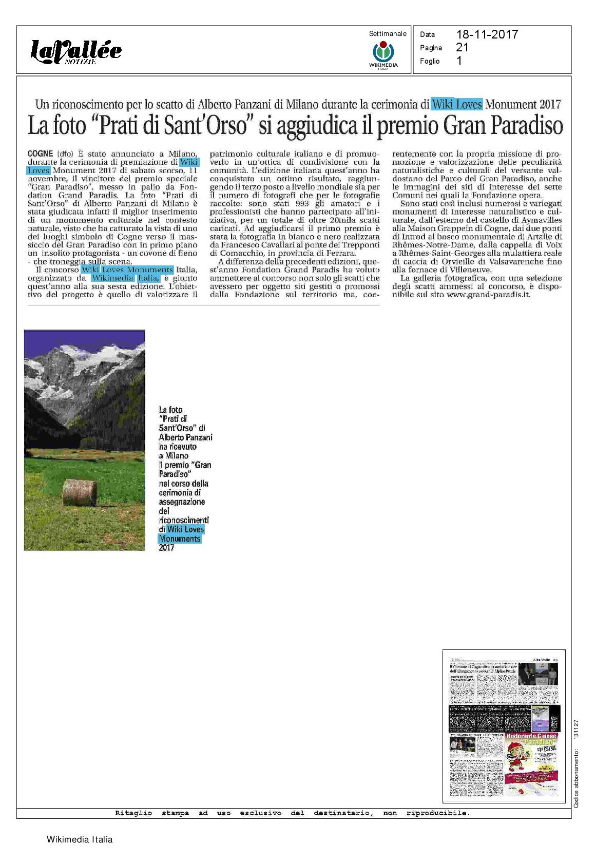 """La foto """"Prati di Sant Orso"""" si aggiudica il premio Gran"""